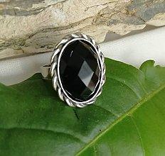 Prstene - Ónyx, prsteň strieborný - 10699436_