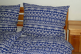 Úžitkový textil - Obliečky Čičmany modré - 10701323_