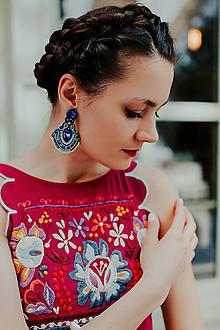 Náušnice - Modré šujtášové náušnice so Swarovski kryštálmi Dobrava - 10701994_
