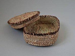 Krabičky - Prútená šperkovnica, šperkovnica z palmových listov a kože - 10699280_