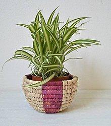 Nádoby - 30% zľava! košíkový kvetináč, Egyptský košík z palmových listov - 10699957_
