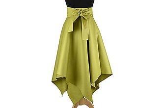 Sukne - sukňa asymetrická s výraznou viazačkou (Olivová) - 10699795_