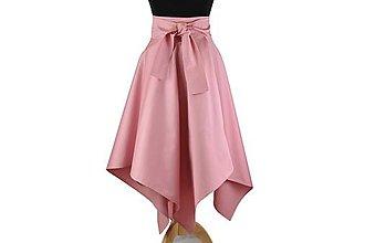 Sukne - sukňa asymetrická s výraznou viazačkou (Svetloružová) - 10699828_