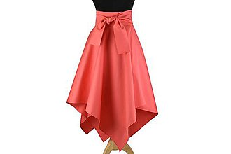 Sukne - sukňa asymetrická s výraznou viazačkou (Koralová) - 10699832_