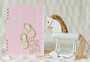 Papiernictvo - Zápisník pre bábätko / dievčatko (ružový) - 10699399_