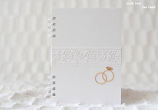 Papiernictvo - Svadobný zápisník (so stuhou) - 10699651_