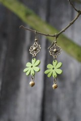 Náušnice - Náušnice - zelený kvet - 10700865_