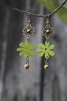 Náušnice - Náušnice - zelený kvet - 10700869_