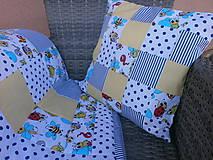 """Textil - """"Veselé chrobáčiky"""" žlto - modrý vankúšik - 10699561_"""
