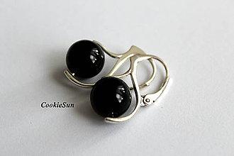 Náušnice - Čierny ónyx - 10701916_