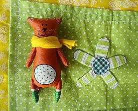 Odznaky/Brošne - Zvieratkové brošne-ryšavá mačka v zelených ponožkách - 10700811_