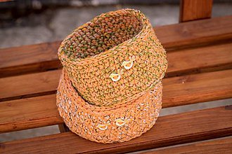 Košíky - háčkovaný košík (Oranžová) - 10700337_