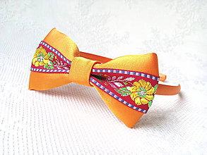 Ozdoby do vlasov - Folklórna čelenka (oranžová/bordová) - 10702468_