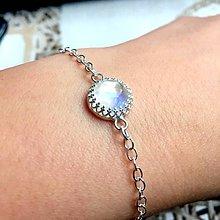 Náramky - Simple Faceted Moonstone Silver Bracelet Ag 925 / Jemný strieborný náramok s brúseným mesačným kameňom /A0072 - 10702515_