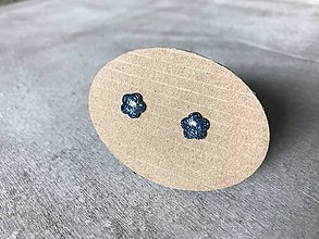 Náušnice - Modré mini kvietočky - 10705316_