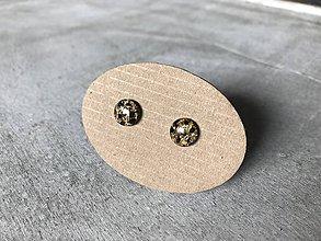 Náušnice - Zlato - čierne mini ďobky - 10705344_