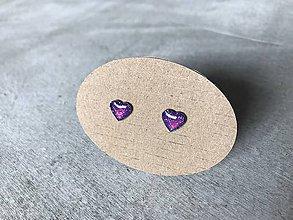 Náušnice - Fialové mini srdiečka - 10705386_