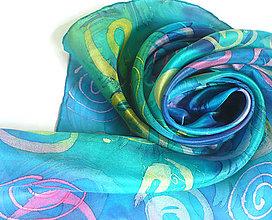 Šatky - Barvy moře. Hedvábný šátek. - 10703971_