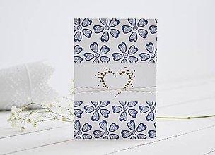 Papiernictvo - Svadobný pozdrav - srdiečko na modrých kvetoch - 10704148_