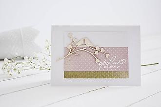 Papiernictvo - Svadobný pozdrav - zaľúbené vtáčiky I - 10704246_