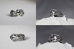 Prstene - Jedinečný prírodný strieborný prsteň s labradoritom - Šum vetra - 10703214_