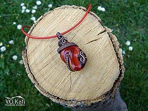 Náhrdelníky - Edwina - sklo, wire wrapping - 10705584_