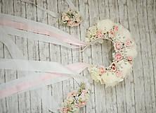 Ozdoby do vlasov - Ružová kvetinová romantická svadobná čelenka s kryštálikmi - 10705151_