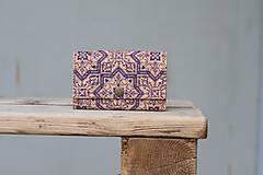 Peňaženky - Korková peňaženka M modrý ornament - 10704644_