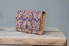Peňaženky - Korková peňaženka M modrý ornament - 10704645_