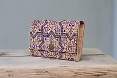 Peňaženky - Korková peňaženka M modrý ornament - 10704647_