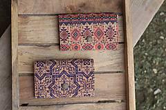 Peňaženky - Korková peňaženka M modrý ornament - 10704660_