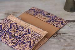 Peňaženky - Korková peňaženka M modrý ornament - 10704661_