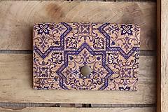 Peňaženky - Korková peňaženka M modrý ornament - 10704665_