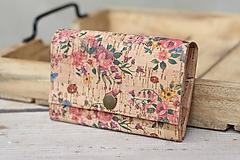 Peňaženky - Korková peňaženka M kvety - 10704691_