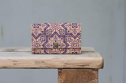 Korková peňaženka M modrý ornament