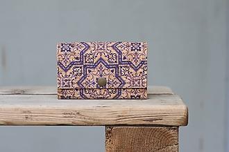 Peňaženky - Korková peňaženka M modrý ornament - 10704664_