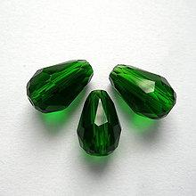 Korálky - Skl.brús.kvapka 12x8mm-1ks (zelená) - 10705149_