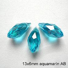 Korálky - Skl.brús.kvapka 13x6mm-1ks (aquamarín AB) - 10705180_