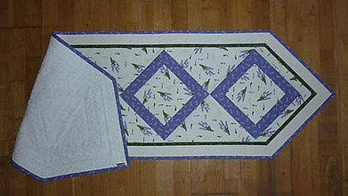 Úžitkový textil - Obrus, štóla na stôl levanduľová (dva varianty) (so špicom) - 10704076_