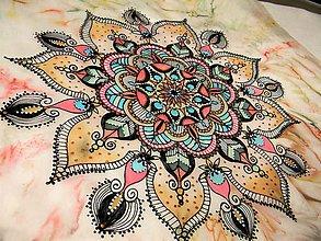 Šatky - Mandala /hedvábný šátek 55 x 55 cm/ - 10705103_