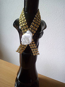 Pierka - stuhy na fľaše zlaté - 10704449_