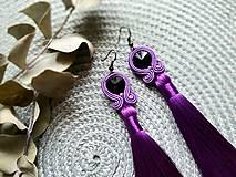 Náušnice - Farebné náušnice so strapcom - soutache earring (Fialová) - 10704153_