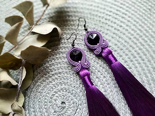 Farebné náušnice so strapcom - soutache earring (Fialová)