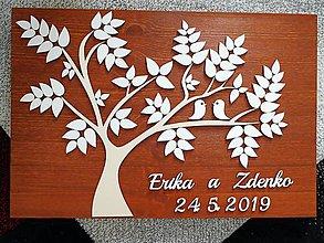 Dekorácie - svadobná kniha hostí/drevený strom 27 - 10702313_