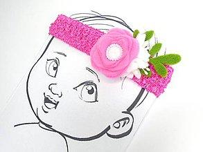 Detské doplnky - Nežná čelenka pre bábätko (Pink) - 10702367_