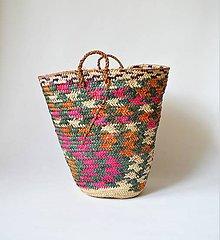 Nákupné tašky - Núbijský palmový kôš, jedinečný egyptský kôš - 10704728_