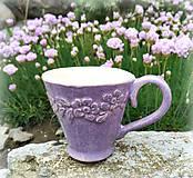 Nádoby - Šáločka na kávu - Levandulová - 10703722_
