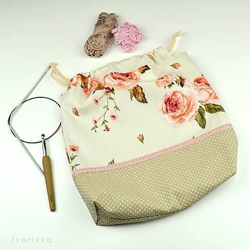 Tvoritaška s ružami ~ projektová taška na vaše tvorenie