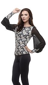 Topy - Dámsky čierny top so vzorom a sieťkovými rukávmi - 10702631_