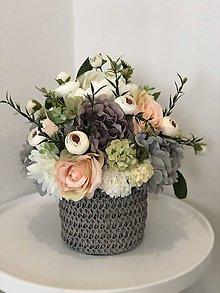 Dekorácie - Kvetinova dekoracia seda pivonka - 10702108_